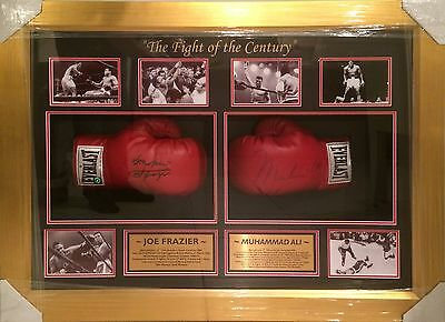 Muhammad Ali and Joe Frazier signed Everlast Gloves Framed ONLINE AUTHENTICS