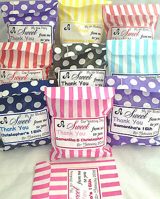 Personalised Wedding Favour Sweet Striped, Polka Dot,Candy Cart Bags, Birthday