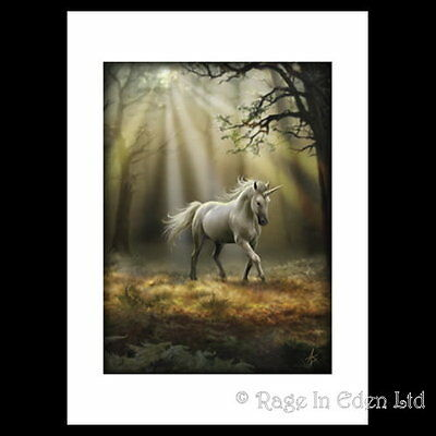 *GLIMPSE OF A UNICORN* Mounted Gothic Fantasy A3 Art Print By Anne Stokes