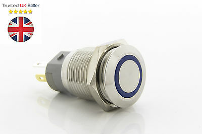 Stainless Steel Blue 12V LED Power Button Latching Switch Push ON/OFF  16mm