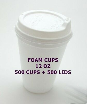 1000 Pc12 oz - dispossable Coffee cups / Foam cups /cold cup 500 + 500lids