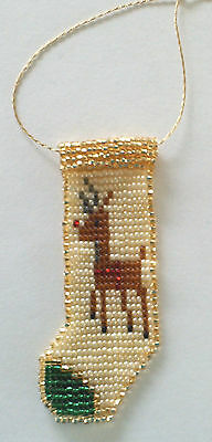 Hand beaded Reindeer Stocking Ornament #1