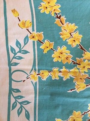 "Vintage Turquoise Aqua Tablecloth Yellow Dogwood Flowers 67""X49"""