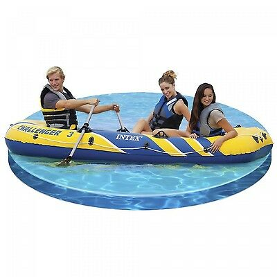 3-Person Boat w Oars & Pump Inflatable Spacious Dinghy Extra Durable Water Fun