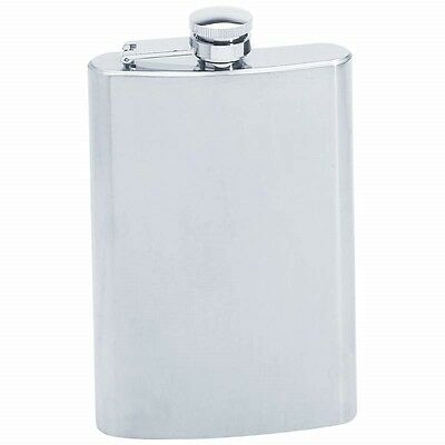 New 8oz TALL Thin FLASK Stainless Steel Hip Pocket Screw Down Cap Liquor Alcohol