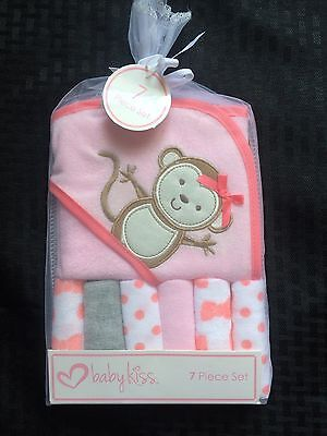 New Baby Kiss Hooded Towel & 6 Washcloth Gift Set Girls Pink Shower Monkey