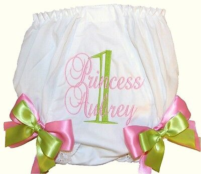 Personalized 1st Birthday Baby Girl Diaper Cover Lime and Pink Script