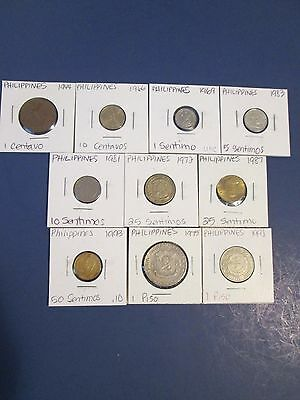 PHILIPPINES   10 coins, 1944-1998, circ to unc, no dups, carded