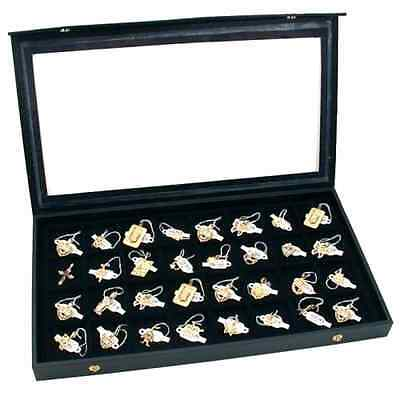 Jewelry Display 32 Slot Earring Display Case Clear Top Glass Box Holder Tray Kit