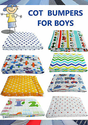Anti-Allergy Boys Standard Bumper to fit cot 60x120 cm - breathable 100% cotton