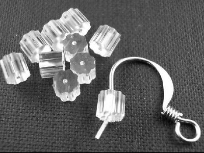 50 SOFT CLEAR RUBBER EARRING BACK STAR TUBE STOPPERS 3mm