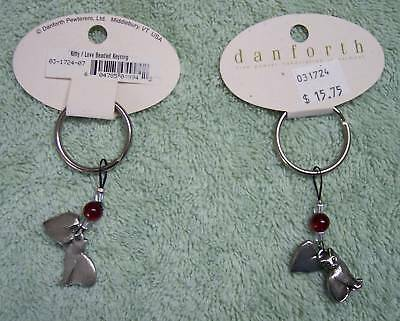Handmade Heart & Cat Beaded Pewter Key Ring by Danforth Pewter in Vermont