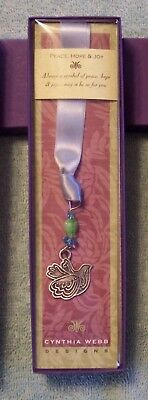 Handmade Dove Pewter Bookmark w/Beads & Ribbon by Cynthia Webb Designs in CA