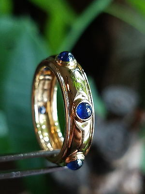 Stunning!! Tiffany & Co.18k Gold & Cabochon Sapphires Eternity Band Ring