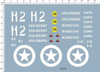 Water Slide Decal 1/18 1/16 WWII  Sherman 64122