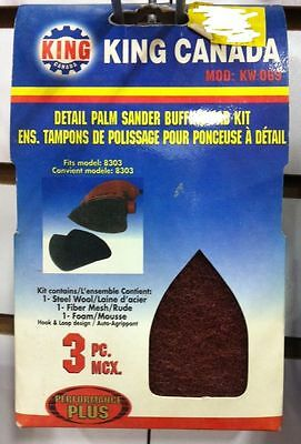King Canada Tools KW-069 DETAIL PALM SANDER BUFFING PAD KIT ens tampons poussage