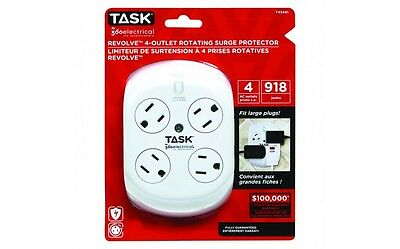Task Tools 4 AC OUTLETS ROTATING SURGE PROTECTOR T43401 540 JOULES large plugs