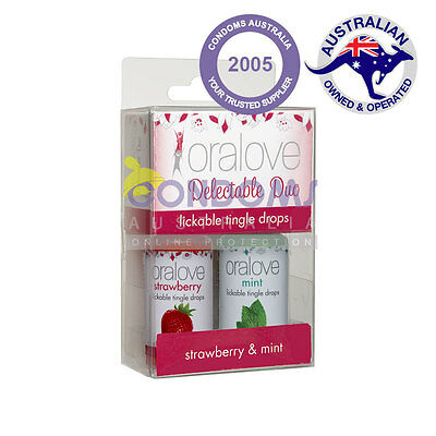Oralove Delectable Duo Lickable Tingle Drops - Strawberry and Mint 2-Pack
