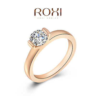 Solid 18K Rose Gold Filled Engagement Ring Women Austrian Crystal Jewelry