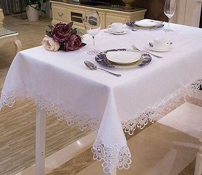 Large Handmade Thick Lace Tablecloth Wedding Decoration White 130cm x 175cm