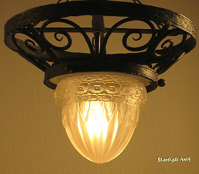 Beautiful French Art Deco Ceiling Lamp/plafonnier 1925-Signed: Schneider France