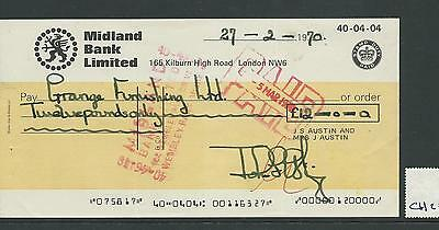wbc. - CHEQUE FORM - CH20- USED -1970's -  MIDLAND BANK , LONDON NW6 - company