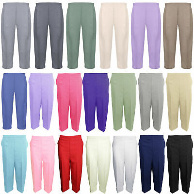 Ladies Cropped Trousers Womens 3/4 Three Quarter Elasticated Capri Crop Pants