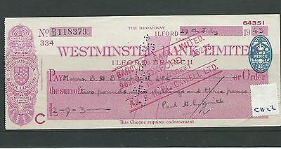 wbc. - CHEQUE FORM - CH22- USED -1940's - WESTMINSTER BANK - ILFORD - company
