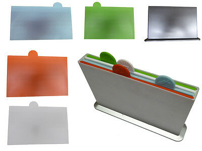 CUTTING CHOPPING BOARD 4 pc SET with STAND kitchen colour coded fish meat veg