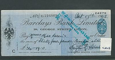wbc. - CHEQUE FORM - USED -1940's -CH24-  BARCLAYS BANK, LUTON - company