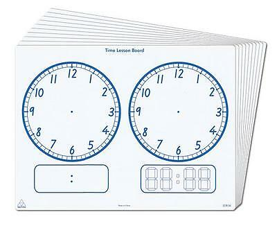 Whiteboard Printed Clock Time Write Wipe Desk Top A4 1p Maths Teaching Resource