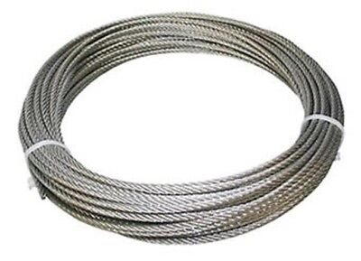 """304 Stainless Steel Wire Rope Cable, 1/8"""", 7x7, 50 ft, Made in Korea"""