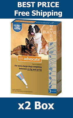Advocate For Dogs Over 25kg Large Dogs 6 Pack Flea and Lice Treatment EXP 2019