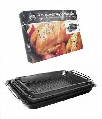 New Set Of 3 Black Non Stick Cooking Roasting Trays Dishes Tins Pans With Racks
