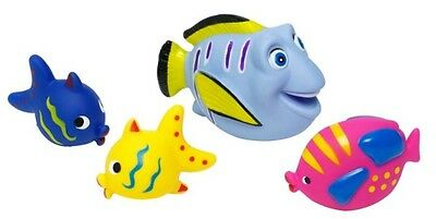 4 Bath Fish Squirters Squirting Fishes Bathtime Baby Toys Water -FREE BATH NET-