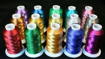 New Threadsrus 15 Metallic Machine Embroidery Threads Cones. Shipping is Free