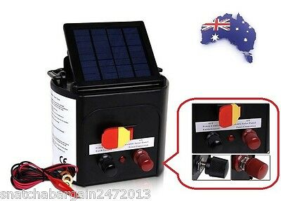 5km Solar Power Electric Fence Energiser Charger Farm Animal Pet - CE Approved