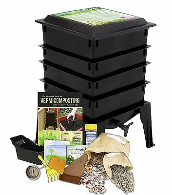 4 Tray Worm Factory® 360 COMPOSTING Garden Composter Bin BLACK + Kit + WORMS