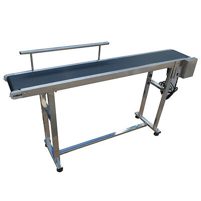 110V PVC Belt Electric Conveyor Machine With Stainless Steel Single Guardrail