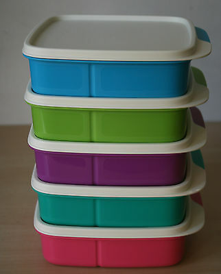Tupperware Lunch Square Divided Packette Lunch Box (5)  New