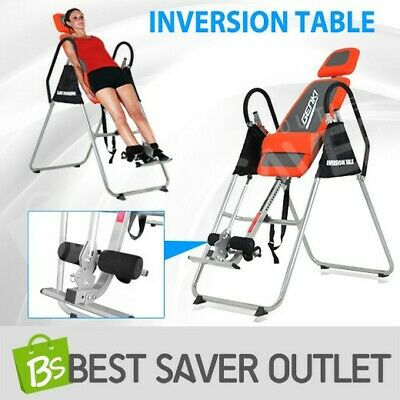 Folding Upside Down Gravity Inversion Table Back Pain Exercise Home Gym Fitness