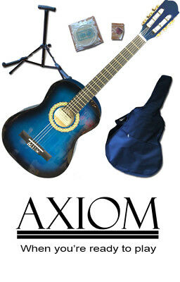 Axiom Beginners Guitar Pack Childrens 3/4 Size Guitar Complete Pack BLUE