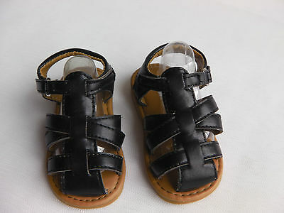 Baby / toddler Boys PU closed toe hard sole sandal with strap fastening BLACK