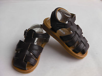 Baby / toddler Boys PU closed toe hard sole sandal with strap fastening BROWN