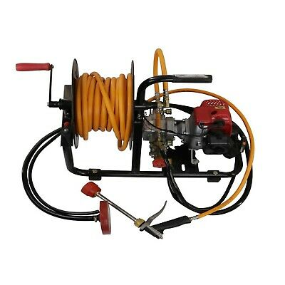 Garden Weed Sprayer Pump with Petrol Engine Motor & Hose Reel Kit Pest Control