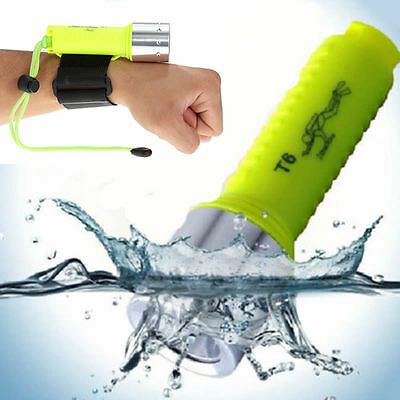 6000LM XM-L T6 LED Underwater 50M Scuba Diving Flashlight Torch With Wristband