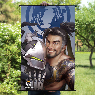 Overwatch Genji & HANZO Home Decor Poster Wall OW Scroll Painting 60*90cm