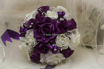 Wedding Flowers Bridesmaid/ Small Brides  Bouquet In  Cadbury Purple And Ivory