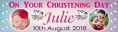 Personalised Christening Day Banner with your photo & text