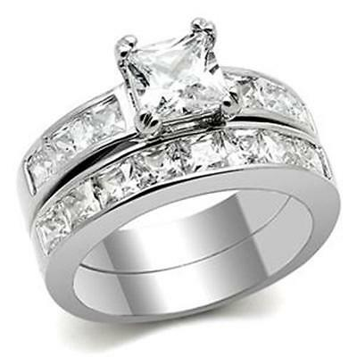 Silver Stainless Steel Simulated Diamond Engagement Wedding Ring Set Size 10 T